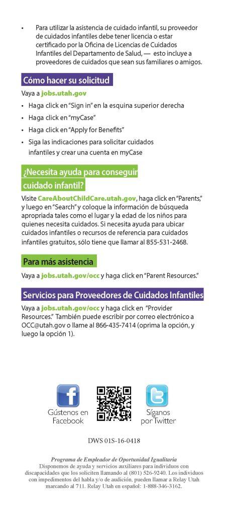 Hoja de información para asistencia con el cuidado infantil. Publicado por  Departamento de Servicios de la Fuerza Laboral de Utah.