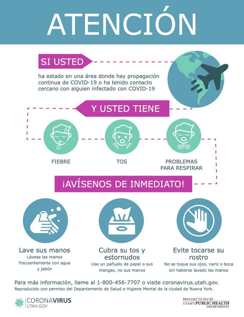 Hoja de información sobre qué hacer si a tenido contacto con alguien infectado con COVID-19.