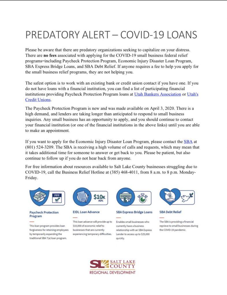 Consumer alert from Salt Lake County Regional Development on predatory Covid-19 Loans.