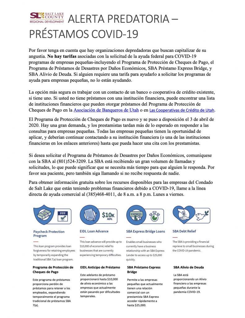 Hoja de información sobre Alerta Predatoria y prestamos fraudes durante esta pandemia de COVID-19. Publicado por el Condado de Salt Lake.
