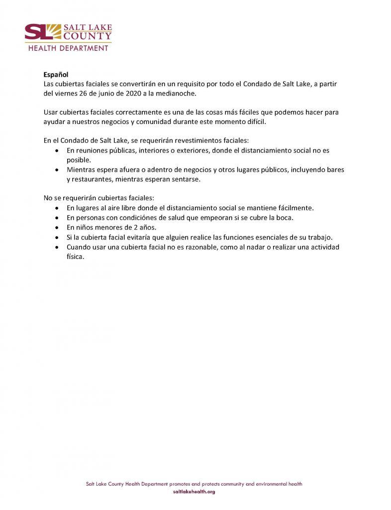 Resumen de la Orden de Salud Pública del Condado de Salt Lake sobre cubiertas faciales.